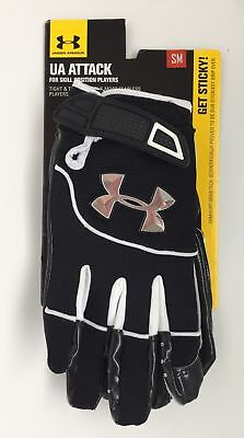 UNDER ARMOUR Black/White UA ATTACK Skill Position FOOTBALL GLOVES MENS S SMALL