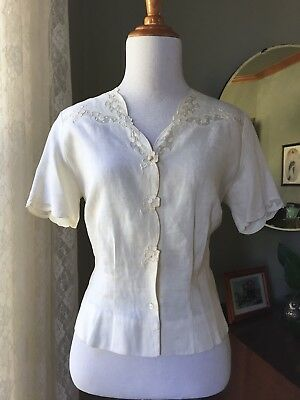 Vintage Madeira Linen Blouse Top Shirt Organdy Inserts Floral Embroidery 40s 50s