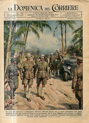 1942 WW2 Surrender of British to Singapore.British officers white flag to Japan