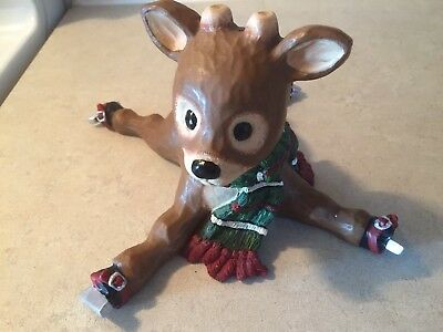 Very Cute Ceramic Sliding Reindeer, Very Good Condition.
