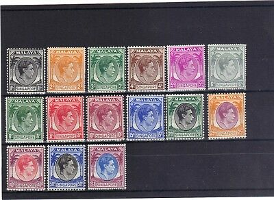 Singapore 1948-52 - 15 Stamps Mint Hinged