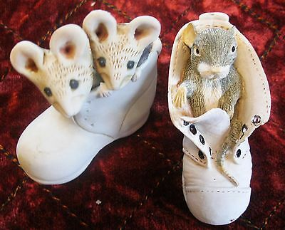 Porcelain pair handmade collectors shoes . White made in Cotswold . Mice nesting