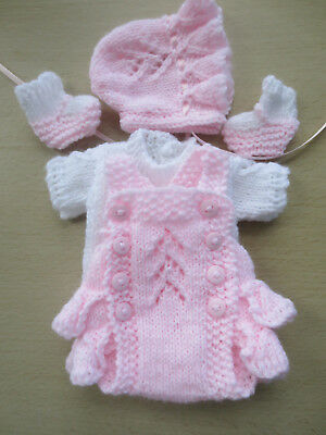"Hand Knitted 7/8"" Reborn Baby Doll Set."