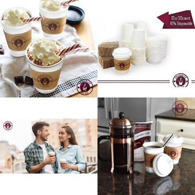 Disposable Coffee Cups With Lids And Sleeves Included To Go Insulated Durable