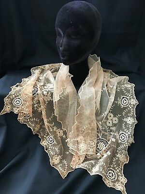 """Antique French Tambour Lace Scarf Shawl Wrap Textile*44"""" X 19""""  Sold """"AS IS"""""""