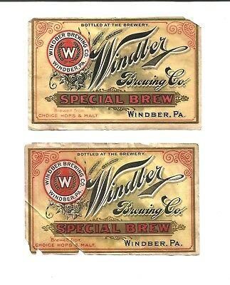 2 Advertising Labels Windber Brewing Co. Windber PA Somerset County