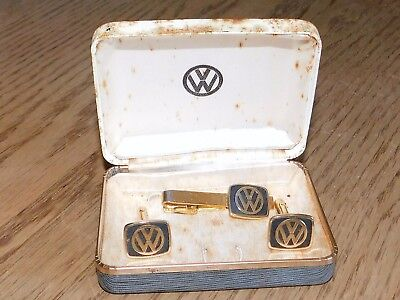 Vintage 1960s Volkswagon VW Logo Cuff Links & Tie-Bar; Original VW Case.!!!!!!