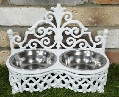 Dog Cat Pet Bowl White Ornate Feeding Dish Metal Two Bowls Shabby French Chic