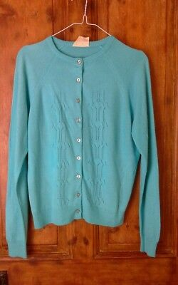 True vintage 60s courtelle turquoise cardigan, mod, fits 10 to 12