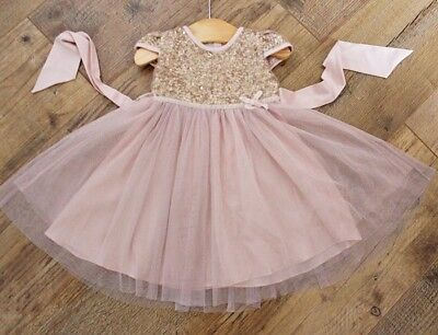 Monsoon Baby Girls Pink Gold Sequin Party Dress Age 3-6 M
