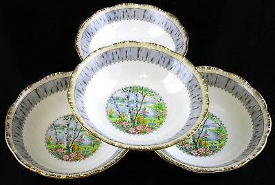 Very Nice Royal Albert Silver Birch Pattern Set Of 4 Cereal Bowls England