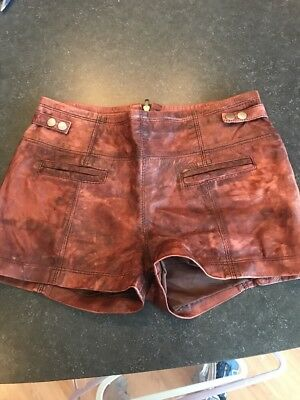 Real Leather Vintage Luggage Distressed Festival Shorts Zara TRF 36 26 4 S Med
