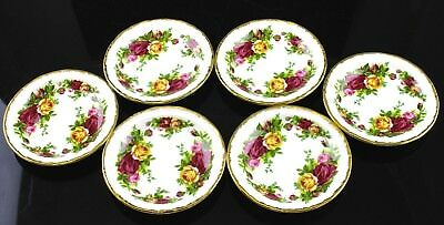 V Nice Royal Albert Old Country Roses Pattern Set Of 6 Large Butter Pats England