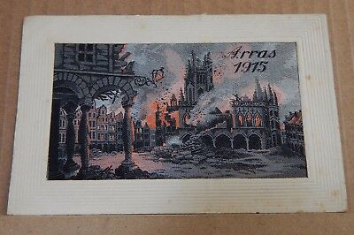 WW1 Silk postcard Arras 1915 Woven picture of Artillery Attack short message on