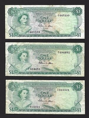 1974 Bahamas $1 One Dollar, Trio of Allen Sigs P-35b, All With Firm Paper