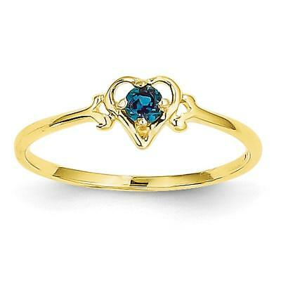 14k Yellow Gold Synthetic Alexandrite Birthstone Heart Ring YC429 Size 7