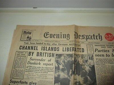 EVENING DESPATCH CHANNEL ISLANDS LIBERATED  MAY 10th 1945 ORIGINAL NEWSPAPER