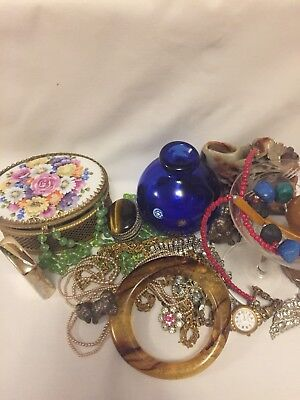 Job Lot of Antique & Vintage Collectables,Murano,Jewellery, Curios,