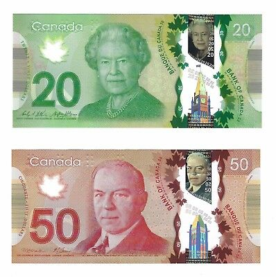 2012 Canada $20 Dollars and 2012 Canada $50 Dollars, Crisp Choice AU Polymer, 2x