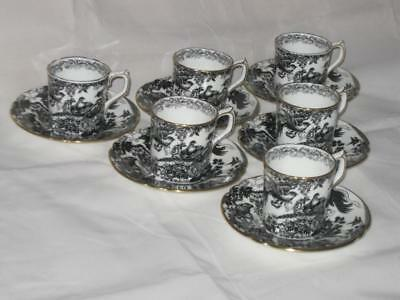 Royal Crown Derby Black Aves A1310 Pattern 6 x demitasse coffee cups & saucers
