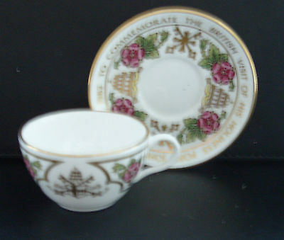 Spode miniature cup & saucer-Visit of Pope John Paul II to Britain 1982