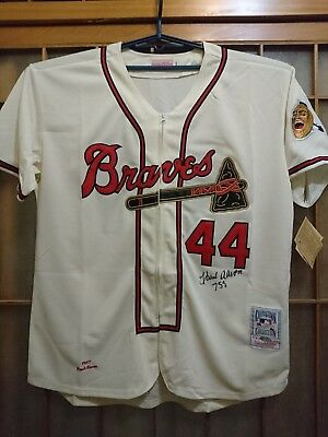 Hank Aaron signed Milwaukee Braves M&N Jersey Steiner COA