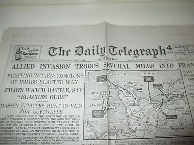 THE DAILY TELEGRAPH ALLIED INVASION D-DAY LANDINGS NEWSPAPER JUNE 7th 1944