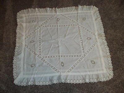 vintage white tablecloth cotton lace inserts monogrammed 34 x 36 inches great