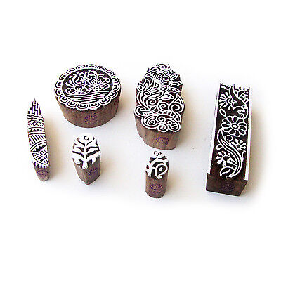 Round and Floral Decorative Designs Wooden Block Stamps (Set of 6)