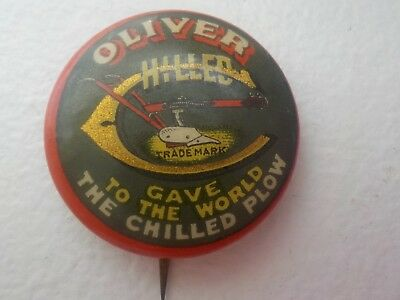 Oliver Chilled TM Gave to The World The Chilled Plow pin pat. 1896 RARE