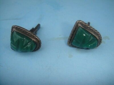 Vintage Mexico TAXCO PLATA Sterling Silver JADE Mask Screw Back Earrings