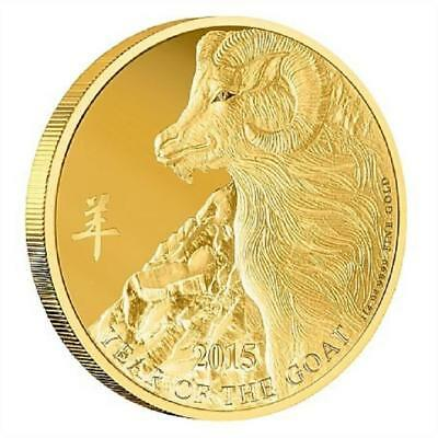 Niue Islands 2015 $25 Year of the Goat Gold 1/4oz LIMITED Gold Coin