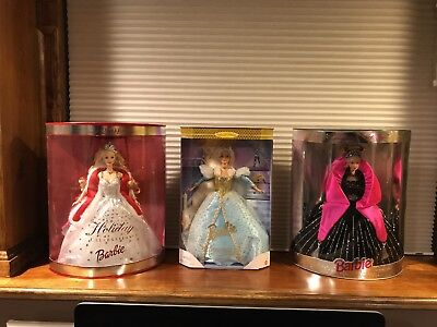 Stunning Dolls  (lot of 3) Two Holiday Barbie's 1998 & 2001 And Cinderella