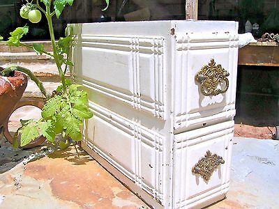 Old Distressed White Wooden Sewing Machine Treadle Drawer s 1156