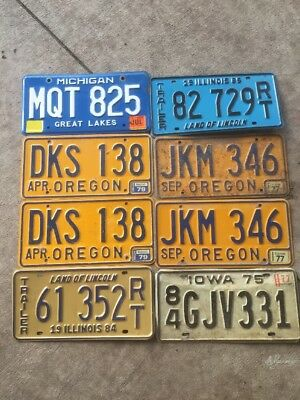 Mixed Lot 8 Old used License Plate Man Cave Decor Vintage