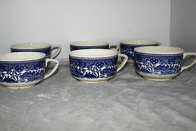 Vintage Blue Willow 8 Coffee Cups-- Free Shipping