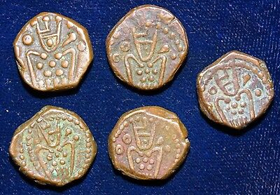 India Ceylon Dutch  Copper Duits Used For Celyon 5 Pcs To Be Sold As Lot