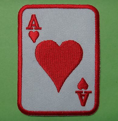 Ecusson iron-on embroidered patch card playing, poker, As heart