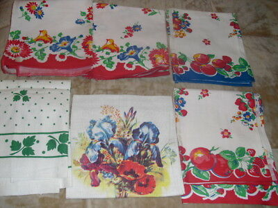 Lot of Six Vintage Kitchen Towels, 1950's/60's style, bright colors