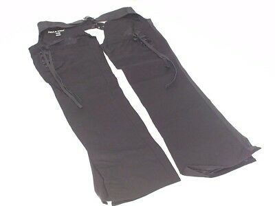 Icon 1000 Womens Hella Motorcycle Street Bike Chaps Black Canvas/Leather Size L
