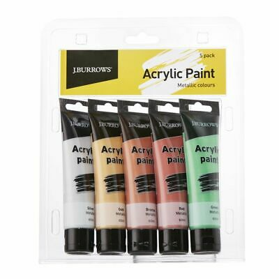J.Burrows Metallic Colour Acrylic Paint 60mL 5 Pack
