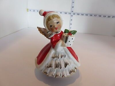 Vintage Japan Musical Christmas Girl Holding Gifts Silent Night Song