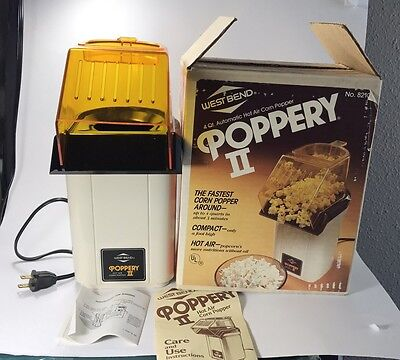 West Bend Poppery II 4 Qt  Popcorn Popper Coffee Roaster 82102 ALMOND Made USA