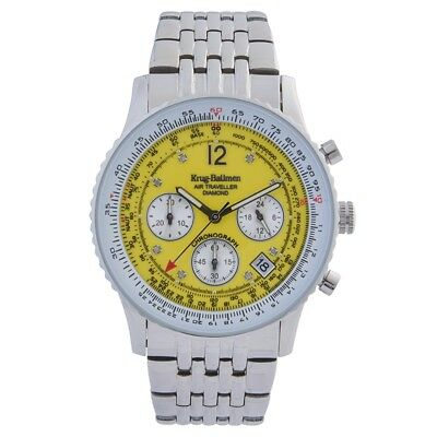 Krug Baumen 400309DS Air Traveller Yellow Dial Stainless Steel Strap RRP £775