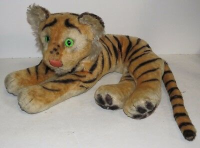 * Vintage Steiff? Tiger Stuffed Animal Green Glass Eyes Woven Nose *