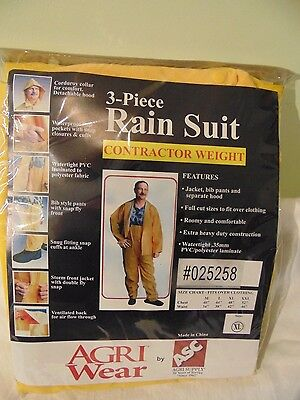 Men's 3 Piece Yellow Rain Suit Contractor Weight XL Protective Gear Business & I
