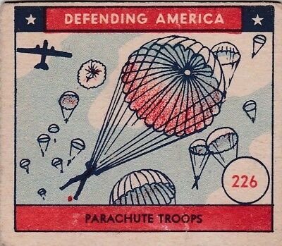 "PARACHUTE  TROOPS - 1941 w.s. ""DEFENDING AMERICA"" war scene U.S. MILITARY card"