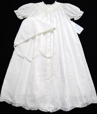 Hand~Embroidered Nb/3M Smocked White Christening Gown Set W/french Lace~Nwt's