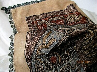 Antique Turkish Islamic Embroidered Silk Metal Linen Lace Tughra Ottoman Textile