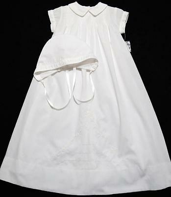 Sarah Louise Newborn Boys Embroidered White Christening Gown  W/slip & Hat~Nwt's